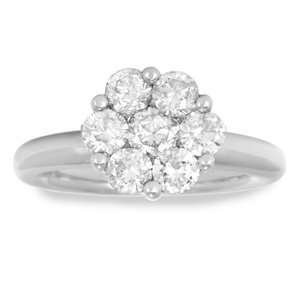 Carat Diamond 14K White gold Flower Cluster Right Hand Ring Jewelry