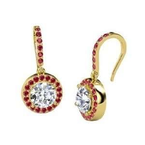 Gem Drop Earrings, Round Diamond 14K Yellow Gold Earrings