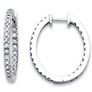 14K White Gold Diamond Hoop Earrings .63ctw Jewelry