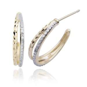 Yellow Gold Plated Sterling Silver Diamond Accent Half Hoop Earrings