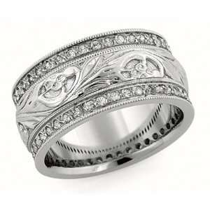 10.00 Millimeters White and Yellow Gold Diamond Wedding Band Ring 14Kt