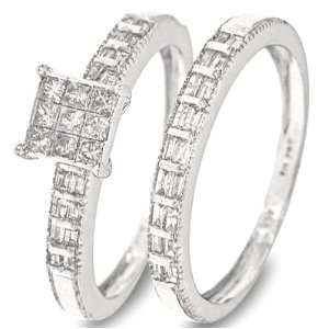 Cut Diamond Ladies Bridal Wedding Ring Set 10K White Gold   Two Rings