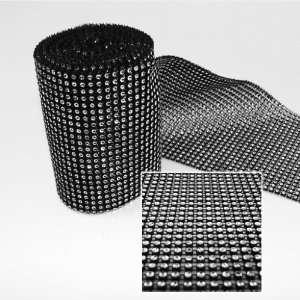 75x10 Yards Black DIAMOND MESH WRAP ROLL SPARKLE RHINESTONE Crystal