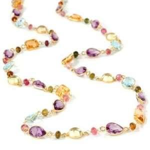 14K Gold 36 Multi Gemstone Necklace Jewelry
