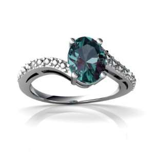 14K White Gold Oval Created Alexandrite Ring Size 6 Jewelry