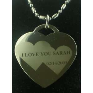 Valentines Personilized #2 Heart Dog Tag Pendant Necklace