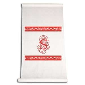 90 Feet by 36 Inch Aisle Runner, Fancy Font Letter S, White with Red