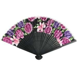 Silky Satin Fabric   Perforated Black Tint Wood Hand Held Folding Fan