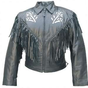 Ladies silver rose leather jacket Automotive