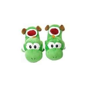 Super Mario Brothers Yoshi Green Plush Slippers Toys & Games