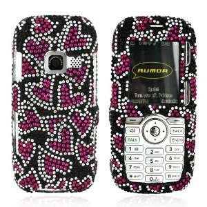 for LG Rumor Bling Hard Case Pink Hearts Black Gems Electronics