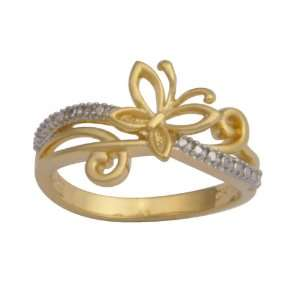 Yellow Gold Plated Sterling Silver Butterfly Matte Finish Ring, Size 8