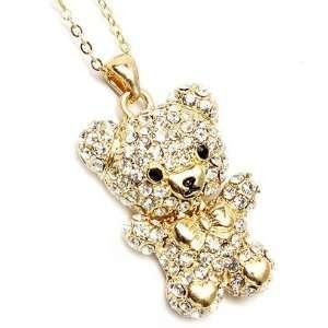 com Cute Gold Tone Clear Crystal Small Teddy Bear Charm Pendant Chain
