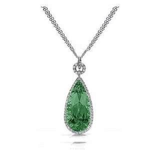 4.91Ct Pear Cut Emerald & Diamond Pendant 14K Gold Jewelry