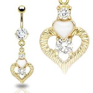 Gold Plated Cubic Zirconia Belly Ring with Enamel Heart and Heart with