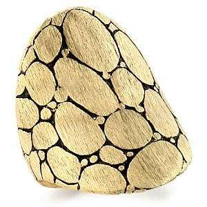Solid Gold Plated Brass Ring with Cobblestone Design   Size 5 10, 10