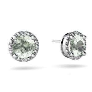14K White Gold Round Genuine Green Amethyst Earrings Jewelry