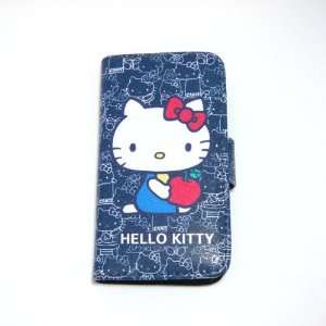 hello kitty sit down black flip leather case for iphone 4