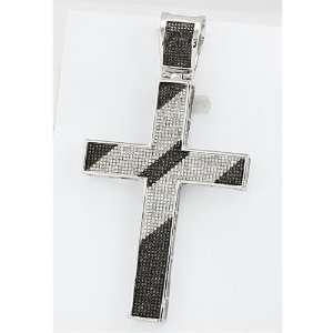 White Diamond Mens Hip Hop Religious Cross Pendant (2.00 cttw, I1 I2