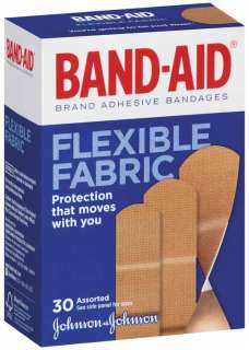 Band Aid Brand Adhesive Bandages, Flexible Fabric, 30 Count (Pack of 2