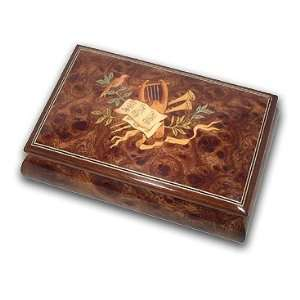 inlaid LYRE, Horn, Notes and Bird Top Quality Reuge Music Jewelry Box