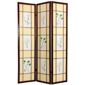 Oriental Furniture Herbal Scene Shoji Room Divider in Rosewood SHFL