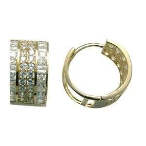 Decadent Elegance CZ 14K Yellow Gold Huggie Earrings Jewelry
