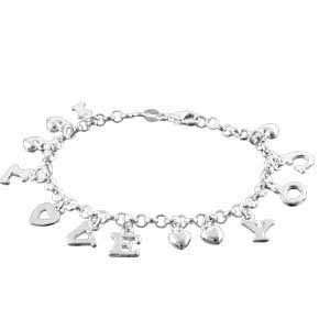 Sterling Silver `I LOVE YOU` Charm Bracelet Jewelry