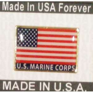 US Marine Corps American Flag Pin Made in USA Patio, Lawn
