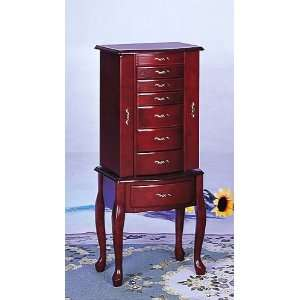 Queen Anne Style Jewelry Armoire in Mahogany Wood Finish