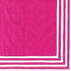 Stripe Border Fucshia Beverage Napkins