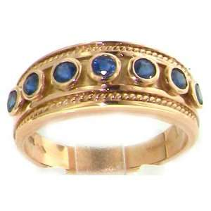 Luxury Stunning Womens 9K Rose Gold Blue Sapphire Eternity Band Ring