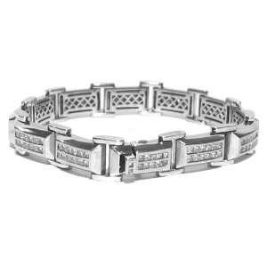 14k White Gold Mens Square Cut Diamond Bracelet 5.50 Carats Jewelry