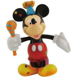 Disney Mickey Mouse Figurine Wearing Birthday Party Hat & Confetti