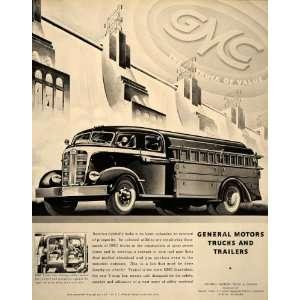1938 Ad General Motors Trucks Trailers Yellow GMC