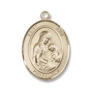 Gold Filled St. Ann Medal Pendant Charm with 24 Gold Filled Chain in