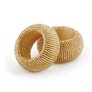 Beads Gold Napkin Rings Set of 2 With this Ring Napkin Rings