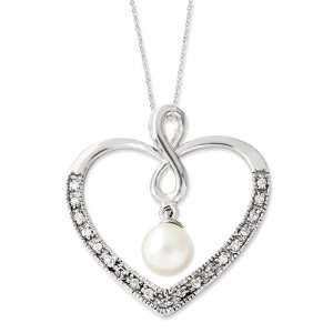 Silver CZ & FW Cultured Pearl My Friend 18in Heart Necklace Jewelry
