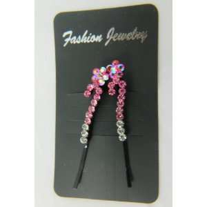 Pink Flower Crystal Rhinestone Designer Hair Bobby Pin Beauty