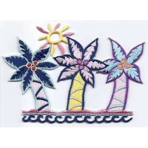 Palm Trees, Tropical, Beach  Iron On Embroidered Applique