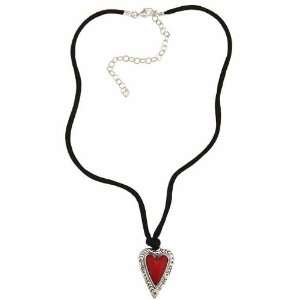 com Southwest Moon Sterling Silver Red Coral Heart Necklace Jewelry