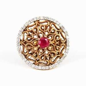 Sterling Silver Ruby and High Quality Zirconia Stones Lace Ring Size 8