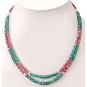 Strands Elegant Natural Green Emerald & Ruby Beaded Necklace Jewelry