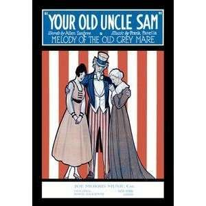 Vintage Art Your Old Uncle Sam   Melody of the Old Grey