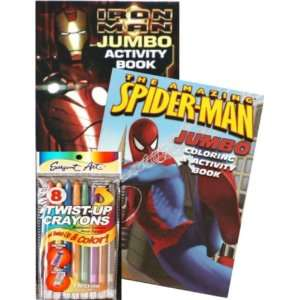SPIDERMAN and IRON MAN Jumbo Coloring Book Set with Twist up Crayons