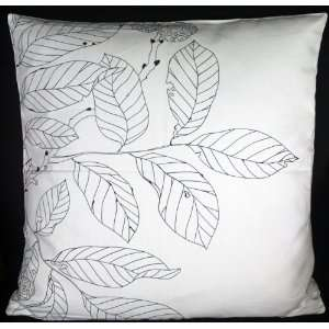 Cushion Pillow Cover 19 20   Black Line Drawing Leaves on White