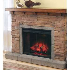 Energy Efficient Stacked Stone Electric Fireplace with Flame Patterns