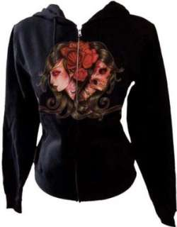 Living by Whitney Lenox Zippered Sugar Skull Hoodie Black Clothing