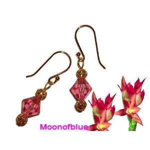 Stylish Earrings with Pink Swarovski Crystal   14K Gold