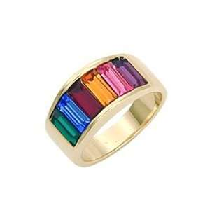 Band Multicolor Swarovski Crystal Gold Tone Ring, Size 3 10 Jewelry